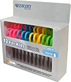 Westcott 5'' Blunt Scissors For Kids With Anti-Microbial Protection, Assorted, Pack of 12 (14871)