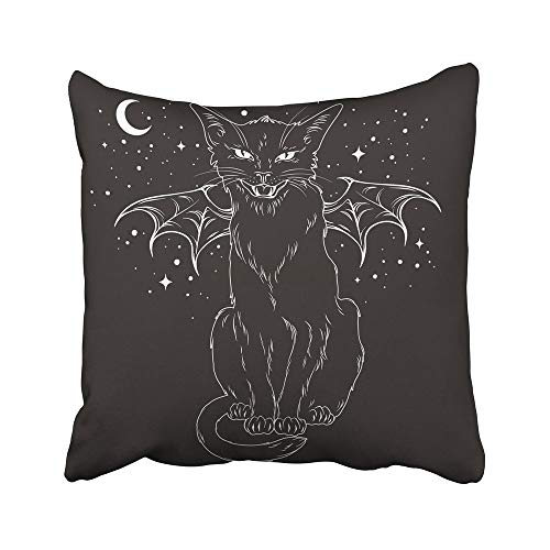 Moily Fayshow Throw Cushion Cover Creepy Black Cat With Monster Wings Over Night Sky With Moon And Stars Wiccan Familiar Spirit 50X50 Cm