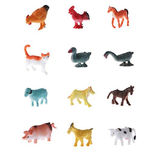 12 Piezas Figura Realista de Animales en Miniatura Plástico Juguete Educativo Modelo de Ratón/Peces/Tortuga/Cebra - Animales Domésticos