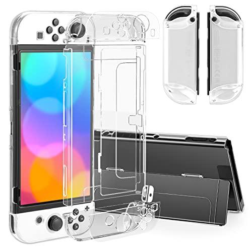 iAmer Tasche Kompatibel Mit Nintendo Switch OLED, Crystal Hülle für Nintendo Switch OLED Modell und Joy Con, Dockbare Transparente Schutzhülle