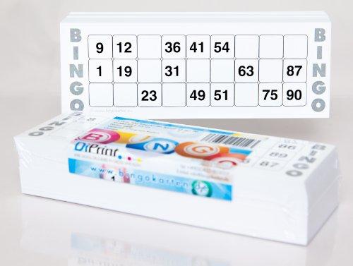 200 cartones de bingo grande para personas mayores sistema 15/90 (color blanco)