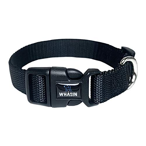 Dog Collar, Premiun Basic Collar for Small Medium Large Dogs, Adjustable Webbing Fabrics, with Durable Quick Release Buckle (Medium Fit Neck: 14-19 in, Black)