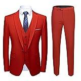 Sliktaa - Traje para hombre, 3 piezas, Slim Fit Business Formel rojo XL