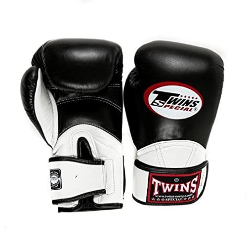 Twins Long Cuff Boxing Gloves Adult BGVL11 Sparring Gloves Muay Thai Fight Gloves 12oz 14oz 16oz Kickboxing Gloves Twins Special Training Gloves (Black/White, 12oz)
