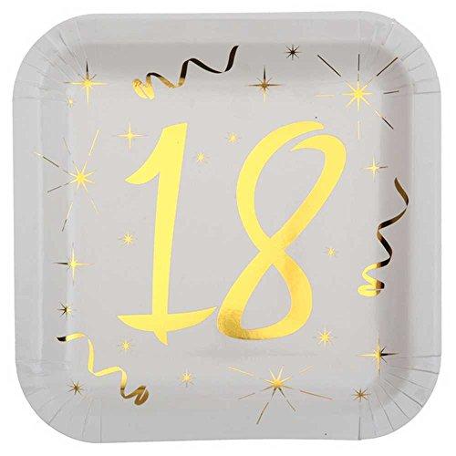 Chal - 10 Assiettes anniversaire 18 ans blanc et or
