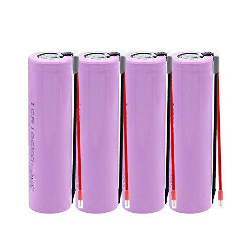 ahjs457 4 Piezas ICR 18650 26F baterías de Potencia 20A Descarga máxima 2600MAH Capacidad batería de Litio Recargable células de Iones de Litio de Tapa Plana + Cable