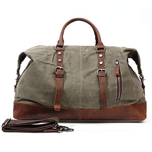 Oversized Genuine Leather tela cerata Trim Viaggi Duffel borsa tracolla Weekender sacchetto esterno Pernottamento bagagli Duffle for Work,School,Man (Color : Green, Size : S)
