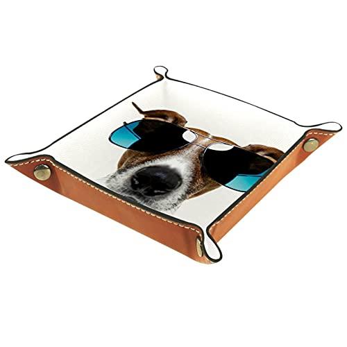 Organizador de escritorio de la bandeja del colector de la bandeja del valet para las mujeres de los hombres Bandeja de la llave para la moneda de la mesa Perro con gafas de sol for Office home