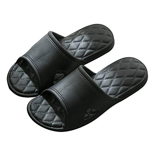 Zapatillas de estar por casa, Zapatillas para Mujeres Hombres, Baño Deslizadores Antideslizantes Zapatos Para El Hogar Sandalias De Peso Ligero Eva Para Exteriores Al Aire Libr(Size:37-38,Color:Negro)