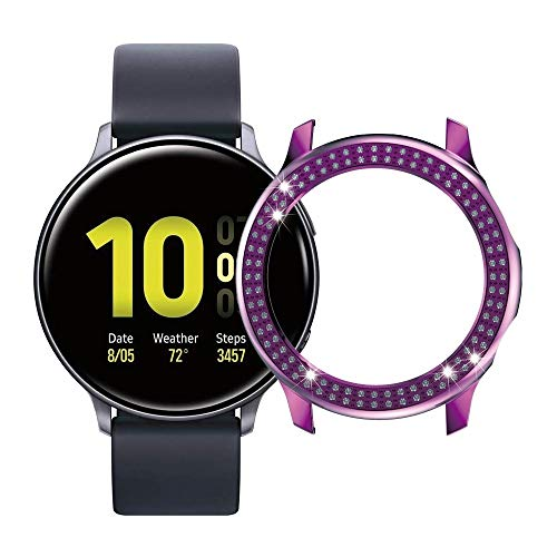 LENASH Caja de Reloj para Galaxy Active2 40 mm / 44mm PC Funda de Reloj de Diamond Fila (Color : Purple)