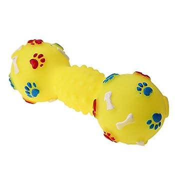 La Cabina Chien Jouet Couineur en Forme de Haltère Squeeze Squeaky Pet Chew Jouet pour Animal Familier