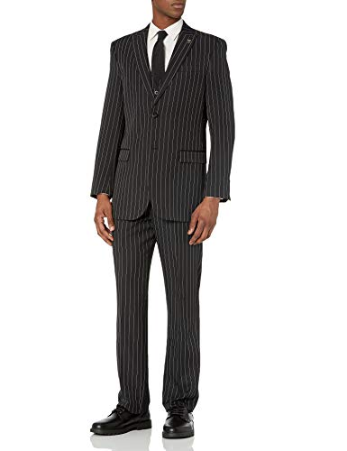 Stacy Adams Men's Mars Vested 3 Piece Suit, Black/White, 42 Regular