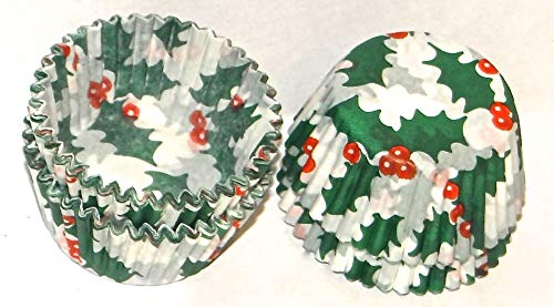 Holly Print Paper Candy Cups 150 Pack Candy Making Supplies