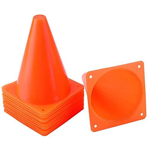 QINYUP 30 Pack 7-Zoll-Kunststoff-Verkehrs-Kegel Trainingshütchen Sets Feld Markierhauben für Skate Fussball Agility Training & Physical Ed