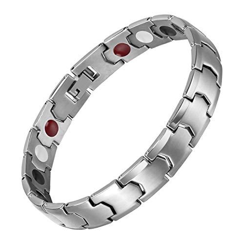 JHKJ Men's Magnetic Bracelets,Link Adjustable Pure Titanium Silver Healing Bracelet for Arthritis and Carpal Tunnel Migraines Tennis Elbow