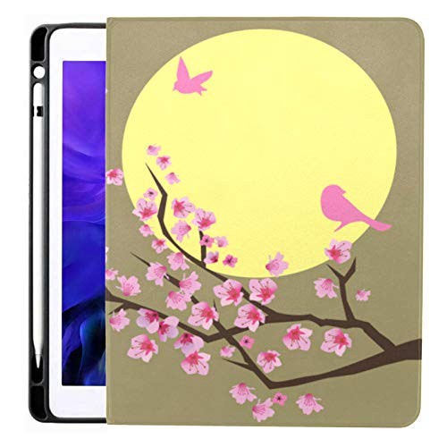 Ipad Pro 12.9 Case 2020 & 2018 With Pencil Holder Cherry Blossom Birds Moon Smart Cover Ipad Case, Supports 2nd Gen Pencil Charging,case For 2020 Ipad Pro 12.9 Cover With Auto Sleep/wake