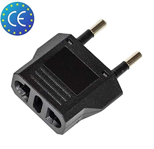 2x Reise Stecker Adapter US USA, AU, EU to EU Euro Europe, Schwarz