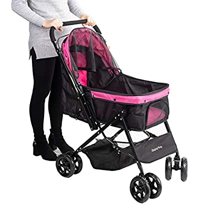 Display4top Pink Pet Travel Stroller, Foldable Four-Wheeled Trolley Suspension Commutation Cat and Dog Cart Large Travel Supplies Travel Goods Gear 2