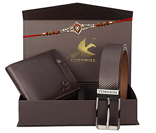 HORNBULL Rakhi Gift Set for Brother - Genuine Leather Brown Wallet and Formal Brown Belt and Rakhi Gift Set for Brother 6985