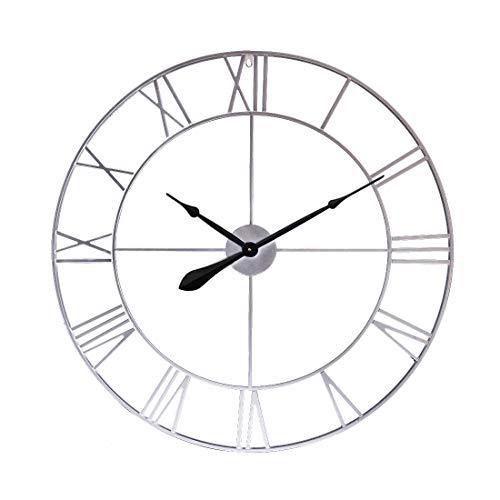 Searchyou Reloj de Pared Grande de 80 cm, Reloj de Pared de Metal Silencioso Estilo Retro hogar Decorativo de la Cocina Oficina Sala de Estar Dormitorio - Plata Retro