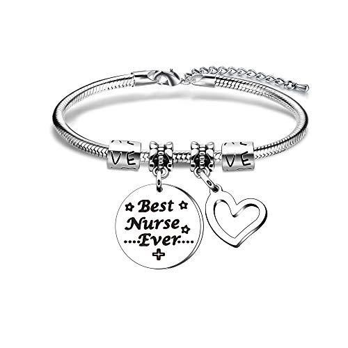 Verpleegster geschenk, verstelbare zilveren hart hanger slang armband voor verpleegkundige dag waardering geschenk