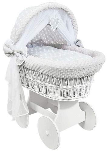 Hooded Wicker Wheel White Moses Basket Baby Full Bedding Set Canopy Dimple White Stars with Grey