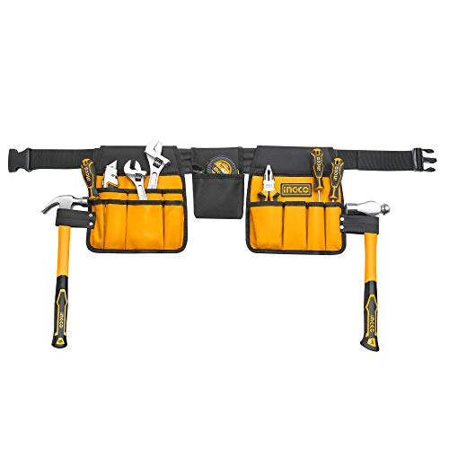 """INGCO 14 Pocket 600D Polyester Multi-Purpose Tool Belt Work Apron with Adjustable Belt (36.22"""" - 50"""") for Electricians Carpenters Plumbers Construction Maintenance Workers HTBP02031"""