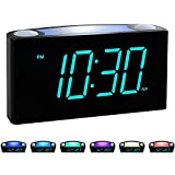 Rocam Digital Alarm Clock for Bedrooms - Large 7' LED Display with Dimmer, Snooze, 7 Color Night Light, Easy to Set, USB Chargers, Battery Backup, 12/24 Hour for Kids, Boys, Heavy Sleepers(Blue)