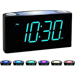 Rocam Digital Alarm Clock for Bedrooms - Large 7 LED Display with Dimmer, Snooze, 7 Color Night Light, Easy to Set, USB Chargers, Battery Backup, 12/24 Hour for Kids, Boys, Heavy Sleepers(Blue)