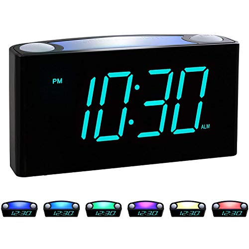 """Rocam Digital Alarm Clock for Bedrooms - Large 7"""" LED Display with Dimmer, Snooze, 7 Color Night Light, Easy to Set, USB Chargers, Battery Backup, 12/24 Hour for Kids, Boys, Heavy Sleepers(Blue)"""