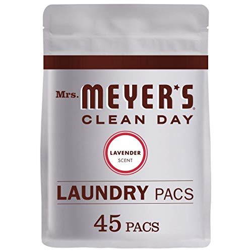 Mrs. Meyer's Clean Day Laundry Detergent Pacs, Biodegradable Formula, Ready to Use Pods, Lavender Scent, 45 Count