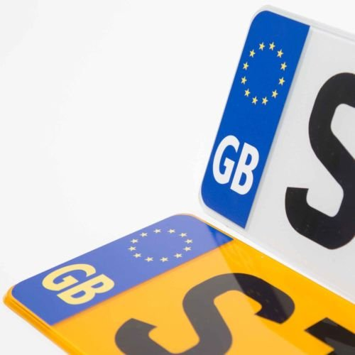 2 x Motorcycle Motorbike GB EU Euro Car Number Plate Vinyl Stickers United Kingdom EU Brexit GB by Ellis Graphix