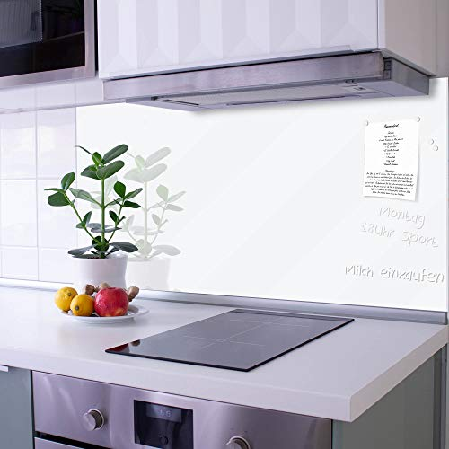banjado Glas Nischenrückwand für Küche 120cm x 60cm | Küchenrückwand weiß | Spritzschutz selbstklebend ohne Bohren | Fliesenspiegel magnetisch und beschreibbar