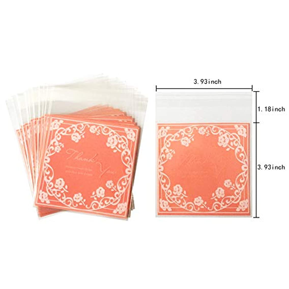 Pink Rose Plastic Pack Candy Cookie Bags Self Adhesive Bags 200 Pcs(3.93x3.93+1.18 Inch)