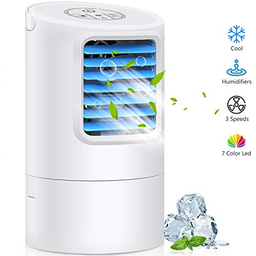 Humidifier Portable Air Conditioner Fan, Mini Personal Evaporative Air Cooler Small Desktop Cooling Fan with 7 Colors LED Lights, Super Quiet Personal Table Fan Mini Evaporative Air Circulator Cooler