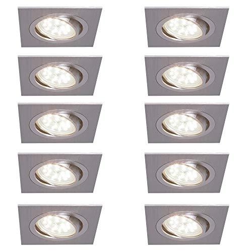 10er Set DEL installation Projecteur Spot Blanc Pivotant Carré 5 W blanc chaud 230 V