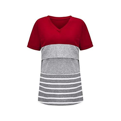 Dames borstvoedingsshirt met lange mouwen, zwangerschapsmode, jurk, borstvoedingstop, strepen, katoen, comfortabel zwangerschapsshirt, casual, elegant, zwangerschapsmode, borstvoedingsshirt, bovenstuk, T-shirt
