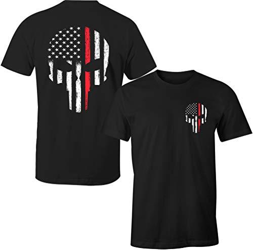 Thin Red Line Firefighter Patriotic Skull USA Flag Men's T Shirt (Black, 2XL)
