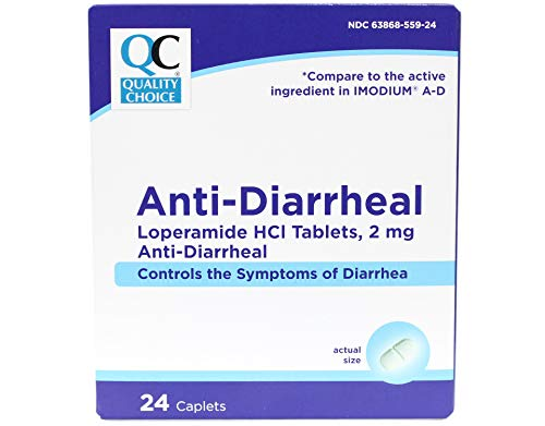Quality Choice Anti-Diarrheal Loperamide HCI Tablets, 2 mg, 24 Caplets