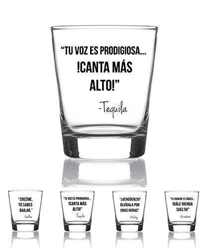 Juego de 4 vasos chupito 9 cl. con mensajes divertidos Modelo Drink