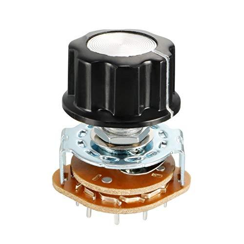 sourcing map Interruptor Rotativo Con Pomo Plástico 6mm 4P3T 4 Polo 3 Posición Que Se Puede Seleccionar Sola Baraja Canal De Banda Selector