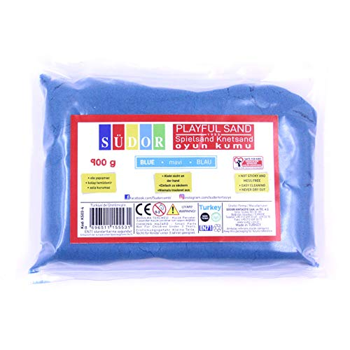 Arena para niños de 0,9 kg de arena para niños, arena de juego, arena inteligente para plastilina, Oyun Kumu Kinetik Kum (azul)