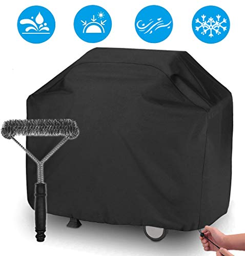 UKEER Housse Barbecue,Housse Barbecue Gaz Bache Barbecue de Protection BBQ Couverture Anti-UV Imperméable pour Weber, Holland, Jennair etc, 145 x 61 x 117 cm,avec Une Brosse Grill pour Barbecue
