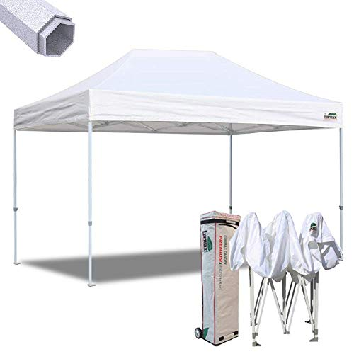 Eurmax 10x15 Ft Premium Ez Pop up Canopy Instant Canopies Shelter Outdoor Party Gazebo Commercial Grade Bonus Roller Bag (White)