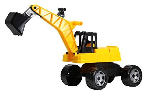 Lena 2017 x Starke Riesen Bagger, Baufahrzeug ca. 80 cm, Giga Truck Schaufelbagger mit 2 Stahlachsen, großer Spielzeugbagger in gelb und schwarz, Baggerfahrzeug für Kinder ab 3 Jahre