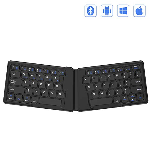 Folding Bluetooth Keyboard, Jelly Comb Ultra Slim Ergonomic Foldable Rechargeable Pocket Sized Mini BT Wireless Keyboard for iOS Android Windows Laptop Tablet Smartphone -Black