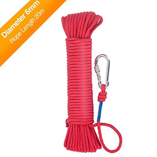 Wukong Cuerda 20m x 6mm– Cuerda de Tejiendo, Rojo Cuerda de Pesca, Multiusos Cuerda, Carga de Rotura: 150kg