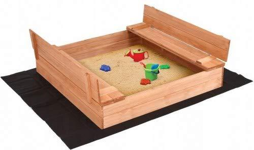 ADGO Bac à sable en bois fermé de 120 x 120 cm avec bancs. Le kit contient un non-tissé en agotextile pour l'isolation du sol et une housse de protection contre la pluie (imprégné).