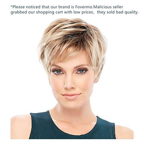Fovermo Perruques blondes courtes Pixie coupe perruques avec frange perruque de cheveux naturels pour les femmes blanches