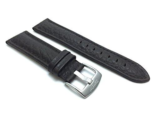 Bandini 22mm Doppelte Extra Lange (XXL) Uhrenarmband, Lederarmband Ersatzband für Herren - Braun - Gepolstert - Büffelmuster